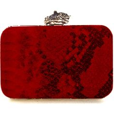 House of Harlow 1960 MARLEY CLUTCH in Red Snake ($175) ❤ liked on Polyvore