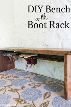 Built this DIY Bench with a built-in Boot Rack that will store shoes and boots a little more out of sight a wall hung boot rack. Woodworking Projects Diy, Woodworking Plans, Diy Projects, House Projects, Built In Bench, Bench With Storage, Boot Storage, Home Addition Plans, Sawdust Girl