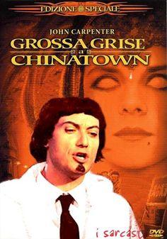 """La #locandina del #film """"Grosso guaio a Chinatown"""" ridisegnata in chiave umoristica da I sarcastici 4. #guzzanti  #isarcastici4"""