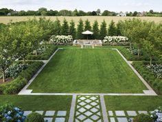 Formal garden - Tisbo Home Landscape Design Plans, Lawn And Landscape, Formal Gardens, Outdoor Gardens, Villa, Traditional Landscape, Back Gardens, Dream Garden, Garden Planning