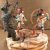 Hopi Left Handed Story Kachina Doll Carving By Artist Nate Jacob