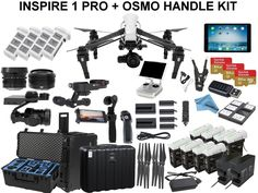 DJI Inspire 1 RAW with eDig Custom Flight Bundle. Includes 8x TB48 Batteries, 2 Charging Hubs, iPad Air, Osmo Handle Kit with X5 Adapter, Go Professional Case, 3x 64GB