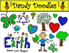 Earth Day Set 2 Clip Art: 29 PNG Images (17 color and 12 BW) $