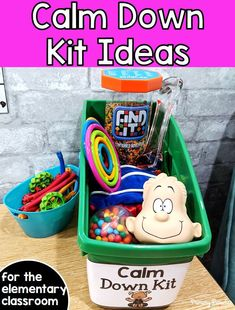 Calm Down Corner Ideas - - A calm down kit helps students to self regulate. It provides students with a safe space to process emotions and teaches students life long coping skills. Calm Classroom, Life Skills Classroom, Space Classroom, Classroom Behavior, Special Education Classroom, Preschool Classroom, Art Education, Elementary Classroom Themes, Kindergarten