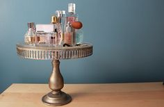 Fragrances on a cake stand! So cute!