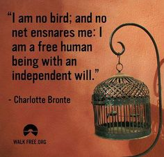 """""""I am no bird; and no net ensnares me: I am a free human being with an independent will."""" - Charlotte Bronte http://www.girlscantwhat.com/"""