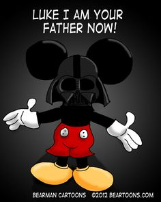 Disney just bought Lucas Films for a ridiculous amount of money. They are planning to make some new Star Wars movies - I wonder if Darth Mickey will be the star :) Walt Disney, Disney Love, Disney Magic, Disney Nerd, Disney Stuff, Star Wars Halloween, Halloween Season, Mickey Mouse Cartoon, Minnie Mouse