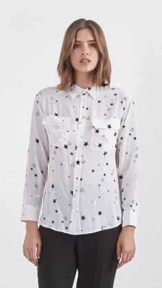 Equipment Star Print Signature Shirt in Bright White | The Dreslyn
