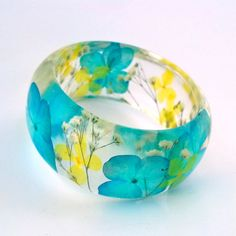 Blue and Yellow Hydrangea and White Baby's Breath Resin Bangle Bracelet - Hydrangea Cuff  - Chunky Floral  Bracelet - Real Flowers Cuff via Etsy