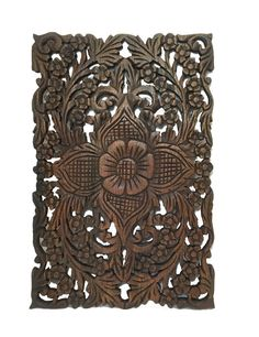 Carving wood wall art Asian theme.Beautify your wall with this decorative lotus flower design. Made from teak wood carved by fine Thai craftsman. Bring warmth and character to any room in your home. S