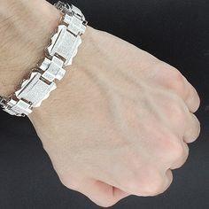 Mens Diamond Bracelet 5.87ct Sterling Silver