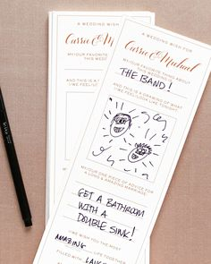 These mad lib-inspired handouts may be the best alternative to a guest book, ever. But the real standout detail here is the rose gold calligraphy at the top of each and every page.