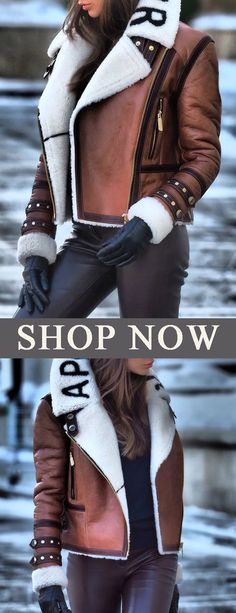 Fashion Lapel Zipper Patchwork Jacket - New Arrival SUPER WARM coat! you can not miss the comfy material, soft and warm feeling it provides - Trendy Outfits, Fashion Outfits, Womens Fashion, Fall Winter Outfits, Winter Fashion, Outfit Invierno, Warm Coat, Passion For Fashion, Teen Fashion