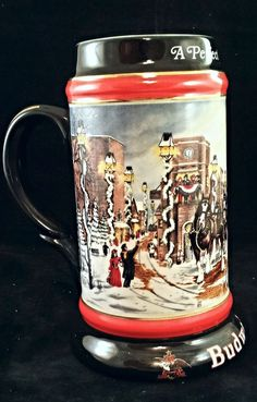 "1992 Budweiser A perfect Christmas   Beer Stein  7"" tall  collectors series  297"