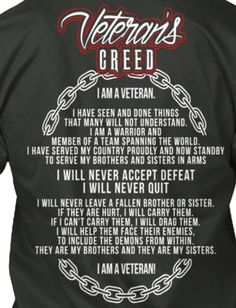 Discover Veteran's Creed T-Shirt from Veteran's Tees & Apparel, a custom product made just for you by Teespring. With world-class production and customer support, your satisfaction is guaranteed. - Veterans Creed Veteran's Creed I Am A. Military Quotes, Military Humor, Military Veterans, Military Life, Veterans Day, Us Army Infantry, Us Army Soldier, Airborne Army, Army Quotes