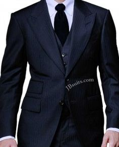Spctr Navy Herringbone Three Piece Suit