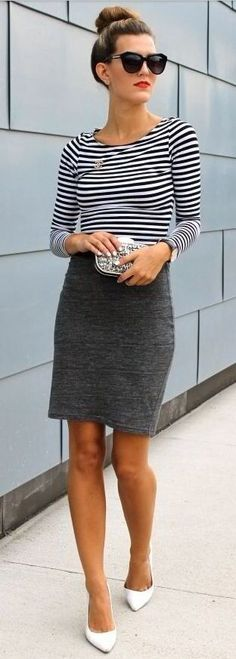 Stripes + pencil skirt.
