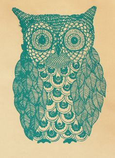 Owl Illustration in Green & Peach. via Etsy.