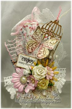 #pprstamps Iris' Guest Designer Week # 5 Project! -  I made a shabby chic style tag using a butterfly image and sentiment from the Dragonflies 2 clear stamp set. Stamps & Dies Used: Dragonflies 2 - CLR011A; Dragonfly Die - PPRS-D011  http://www.prickleypear.com
