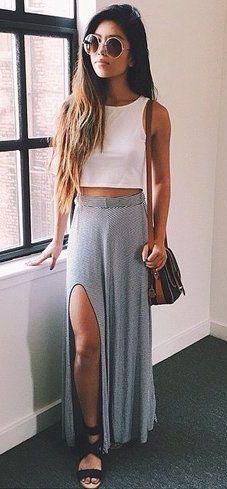summer fashion slit gray skirt