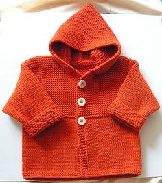 Knit Child's Duffle cardigan sweater hoodie coat by Phildar Design Team.