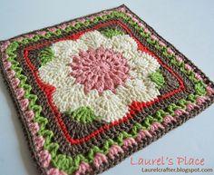 Crochet Granny Square Patterns Laurel's /place crochet block called Emma Lynn designed by Carolyn Christmas Grannies Crochet, Crochet Squares Afghan, Granny Square Crochet Pattern, Crochet Blocks, Granny Squares, Granny Granny, Crochet Motif Patterns, Crochet Stitches, Knit Crochet