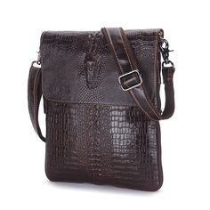 Contacts Genuine Leather Crossbody Men Handmade Crocodile Embossed Shoulder Bag Dark Brown -- Awesome products selected by Anna Churchill