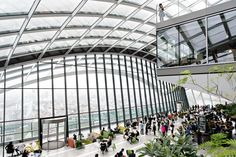 The Sky Garden at the top of the Walkie Talkie in London. A public open space and garden with spectacular views.