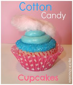 Dip it in Chocolate: Cotton Candy Cupcakes using cotton candy in the cupcakes!