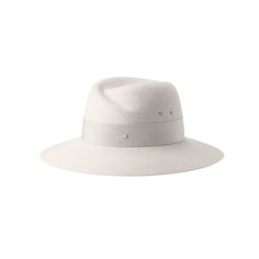 Maison Michel 'Virginie' rabbit furfelt fedora | €500 | Color: White Chalk | SS17