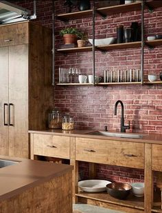 Perfect counter and shelves for small house.