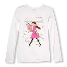 89dcfa05 s Long Sleeve Glitter Holiday Shopper Graphic Tee - White T-Shirt - The  Children's