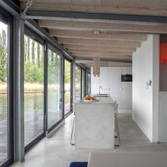 Open kitchen on a floating German house boat.