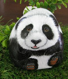 Panda handpainted rock by StoneAndCanvas on Etsy