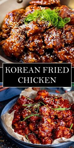 Korean Fried Chicken - A faire - Chicken Recipes Seafood Recipes, Dinner Recipes, Cooking Recipes, Asian Recipes, Healthy Recipes, Korean Fried Chicken, Chicken Wing Recipes, Asian Cooking, International Recipes