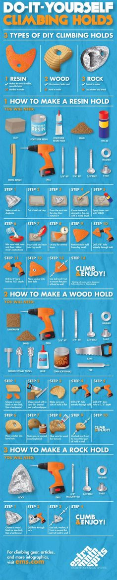 no better way to add an awesome personal touch than Do It Yourself climbing holds. Learn more from our How To Make Climbing Wall Holds infographic. Climbing Wall Holds, Indoor Climbing Wall, Rock Climbing Gear, Bouldering Wall, Rock Wall, Outdoor Fun, Play Houses, Kids Playing, Playground