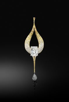 Flaming Ambition Diamond pendant, centering on an impressive emerald-cut diamond weighing 8.20 carats within rolling and licking flames set with 185 brilliant-cut diamonds of orange through to yellow tints, suspending a pear-shaped diamond weighing 1.19 carats, mounted in 18k yellow and white gold.