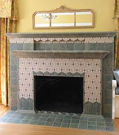 Fireplace and hearth using mexican tiles by for Arts and crafts fireplace tile