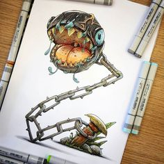 Les fan art freaks by Tino Valentin - Pinim. Marker Kunst, Marker Art, Marker Drawings, Copic Kunst, Arte Steampunk, Character Art, Character Design, Pop Art, Arte Robot