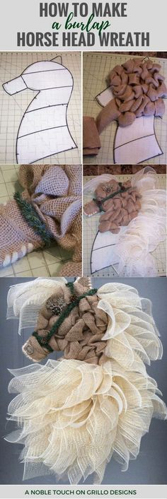 diy dekoration DIY horse head wreath tutorial - Michelle from A Noble Touch shares how to make a gorgeous decorative horse head wreath from burlap! Burlap Projects, Burlap Crafts, Wreath Crafts, Diy Wreath, Burlap Wreaths, Wreath Ideas, Yarn Wreaths, Tulle Wreath, Rustic Wreaths