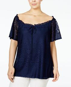 a3dd8ddcdc6 NY Collection Plus Size Off-The-Shoulder Lace Peasant Blouse Plus Sizes -  Tops - Macy s
