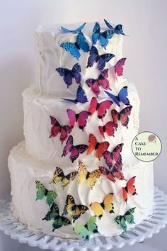 28 rainbow edible butterflies for cake and cupcake toppers 1 5 8243 wafer paper butterflies Enchanted garden birthday butterfly wedding cakes Wedding Cake Pops, Fall Wedding Cakes, Beautiful Wedding Cakes, Wedding Cake Toppers, Wedding Ideas, Butterfly Wedding Cake, Butterfly Cakes, Paper Butterflies, Birthday Cake Decorating