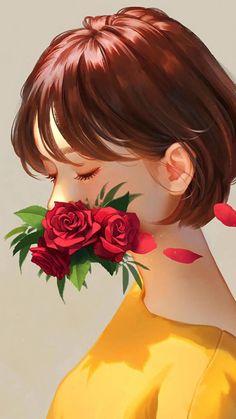 Launcher Theme, Wallpaper and Design Aesthetic Art, Aesthetic Anime, Girl Cartoon, Cartoon Art, Cute Art, Pretty Art, Cute Girl Wallpaper, Wallpaper Art, Flower Drawing Tutorials
