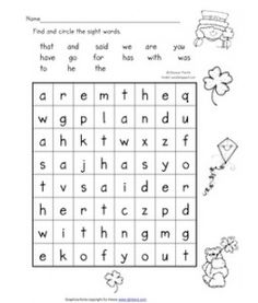 Sight Word Search for St. Patty's Day