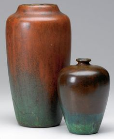 461: CLEWELL Two patinated copper-clad vases : Lot 461