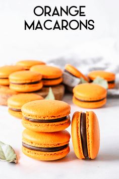 Orange Macarons filled with Orange Marmalade and Dark Chocolate Ganache, a heavenly combination of sweet and citrusy marmalade and rich chocolate. Dark Chocolate Orange, Chocolate Ganache, Melting Chocolate, White Food Coloring, Blackberry Syrup, Ganache Recipe, Macaroon Recipes, Chocolate Squares