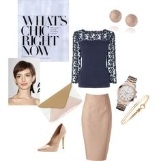 """Navy & Nude"" by mooreglamorous on Polyvore"