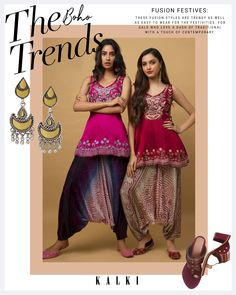 Fuchsia pink peplum top in silk with resham aari embroidery and beads hand work in floral motifs. Crafted sleeveless with leaf cut neckline. Paired with navy blue ombre low crotch cowl pants with bandhani print all over. The cowl pant is fabricated in cotton silk. Blue Ombre, Navy Blue, Aari Embroidery, Lehenga Collection, Cotton Silk, Indian Wear, Indian Outfits, Kurti, Cowl