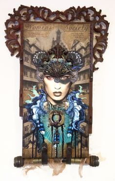 Warrior Goddess Minerva ©Andrea Matus deMeng  Combined Media on Wood Substrate  #andreamatus