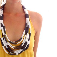 diy necklace made from striped t-shirt